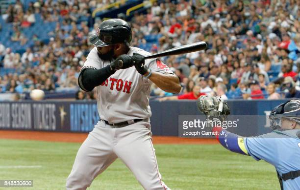 Jackie Bradley Jr #19 of the Boston Red Sox takes a pitch during the second inning of the game against the Tampa Bay Rays at Tropicana Field on...