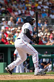 Jackie Bradley Jr #25 of the Boston Red Sox bats against the Minnesota Twins during a spring training game on March 2 2016 at JetBlue Park in Fort...