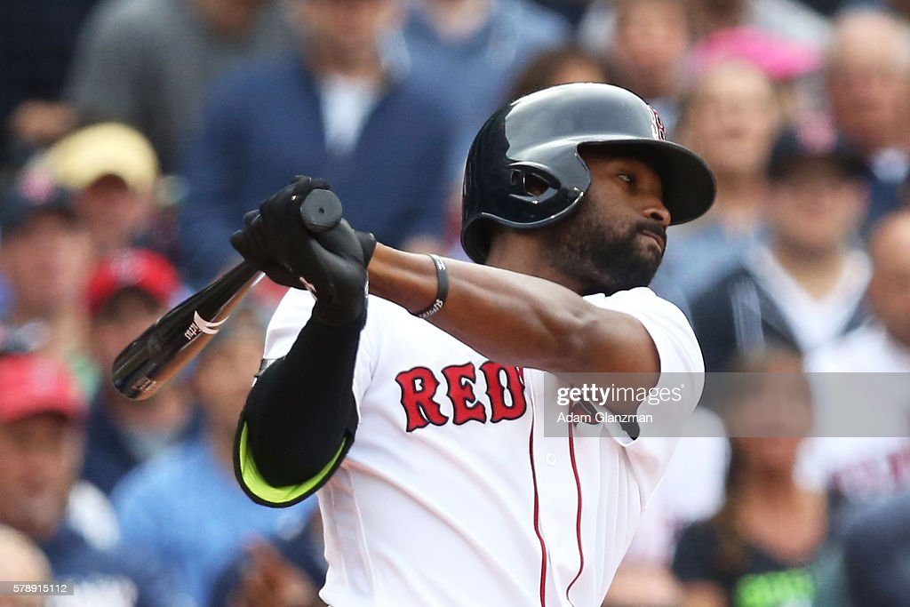Jackie Bradley Jr #25 of the Boston Red Sox bats during the game against the Tampa Bay Rays at Fenway Park on July 9 2016 in Boston Massachusetts