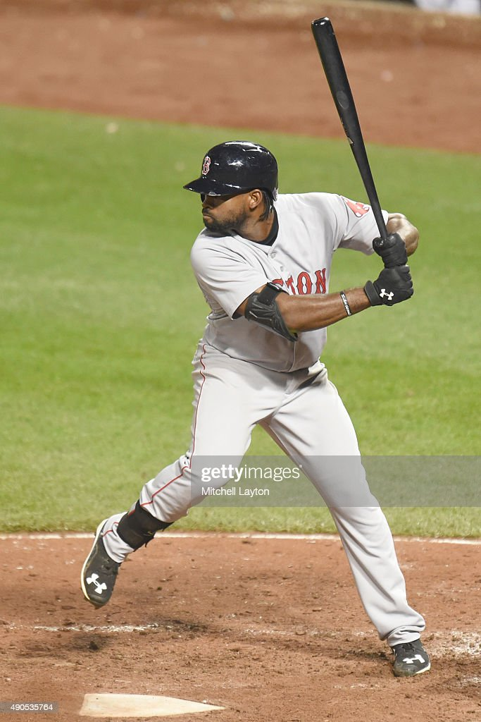 <a gi-track='captionPersonalityLinkClicked' href=/galleries/search?phrase=Jackie+Bradley+-+Baseball+Player&family=editorial&specificpeople=15049465 ng-click='$event.stopPropagation()'>Jackie Bradley</a> Jr. #25 of the Boston Red Sox prepares for a pitch during a baseball game against the Baltimore Orioles at Oriole Park at Camden Yards on September 15, 2015 in Baltimore, Maryland. The Orioles won 6-5.