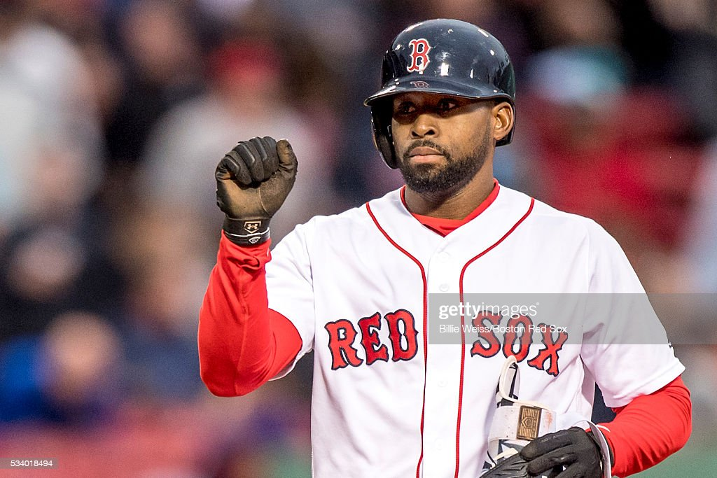 <a gi-track='captionPersonalityLinkClicked' href=/galleries/search?phrase=Jackie+Bradley+-+Baseball+Player&family=editorial&specificpeople=15049465 ng-click='$event.stopPropagation()'>Jackie Bradley</a> Jr. #25 of the Boston Red Sox reacts after hitting a double during the second inning of a game against the Colorado Rockies on May 24, 2016 at Fenway Park in Boston, Massachusetts, extending his hitting streak to 28 straight games.