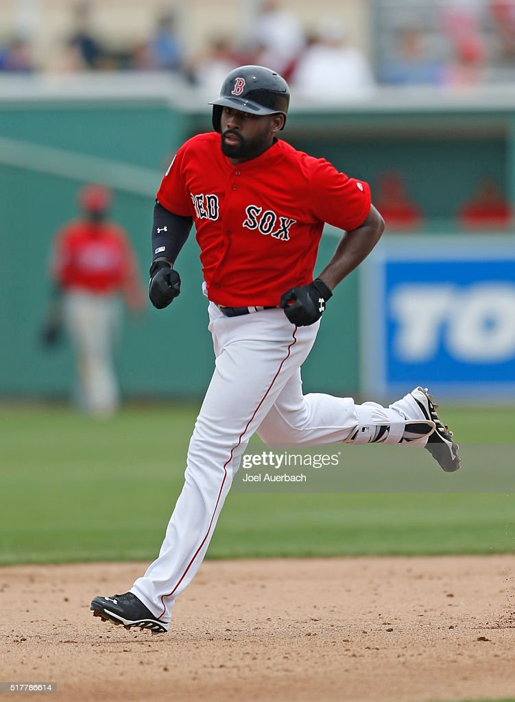 Jackie Bradley Jr. #25 of the Boston Red Sox rounds the bases after hitting a home run against the Philadelphia Phillies during the fourth inning of a spring training game at JetBlue Park on March 27, 2016 in Fort Myers, Florida. The Red Sox defeated the Phillies 5-1.