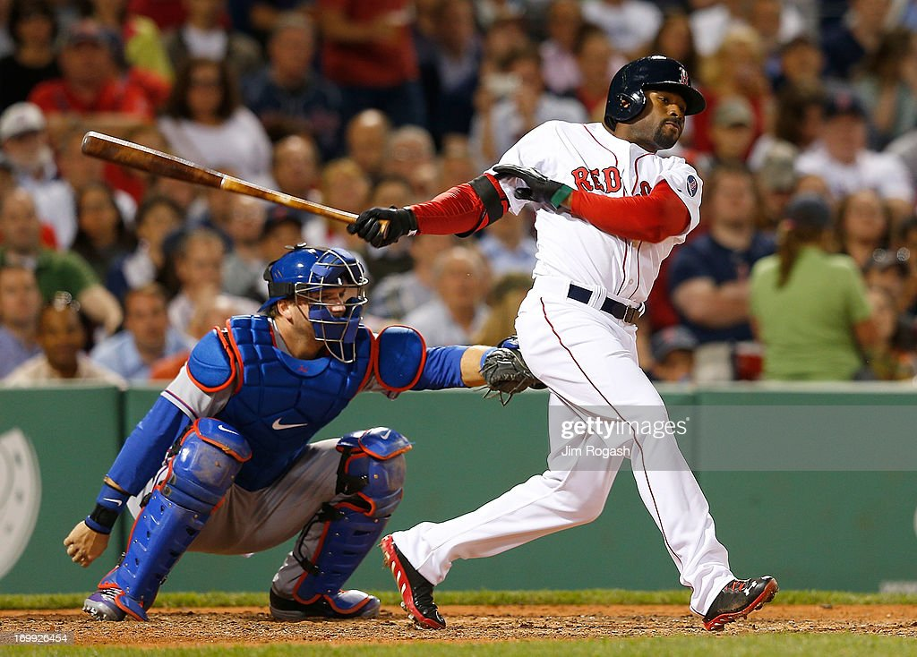 Jackie Bradley Jr. #44 of the Boston Red Sox grounds out but knocks in a run against the Texas Rangers in the 6th inning during a game at Fenway Park on June 4, 2013 in Boston, Massachusetts.