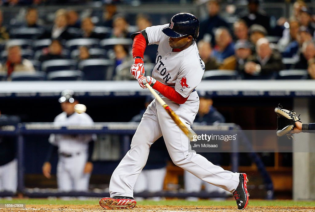 Jackie Bradley Jr. #44 of the Boston Red Sox in action against the New York Yankees at Yankee Stadium on April 4, 2013 in the Bronx borough of New York City. The Yankees defeated the Red Sox 4-2.