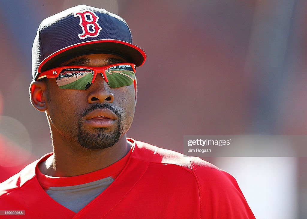 Jackie Bradley Jr. #44 of the Boston Red Sox leaves the cage after taking batting practice before a game with the Texas Rangers at Fenway Park on June 4, 2013 in Boston, Massachusetts.