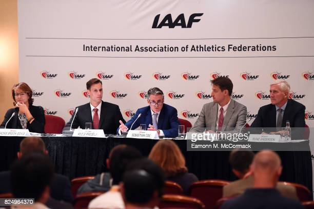 Jackie BrockDoyle IAAF Communications Executive Director Rozle Prezelj Chair of the Athletes' Commission Sebastian Coe IAAF President Olivier Gers...