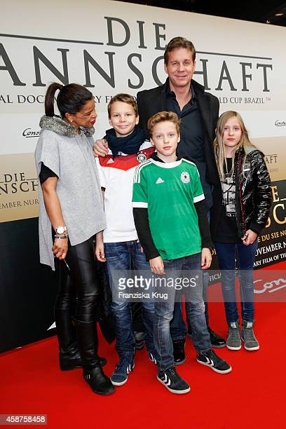 Jackie Brown and her husband Thomas Heinze and their kids attend the 'Die Mannschaft' Premiere at Sony Centre on November 10 2014 in Berlin Germany