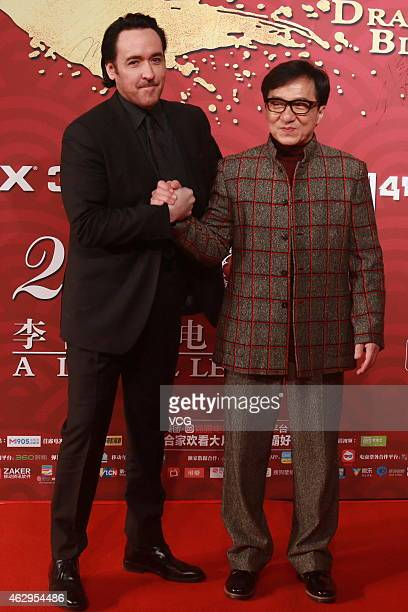 Jackie Chan and actor John Paul Cusack attends premiere of director Daniel Lee Yankong's new film 'Dragon Blade' on February 7 2015 in Beijing China