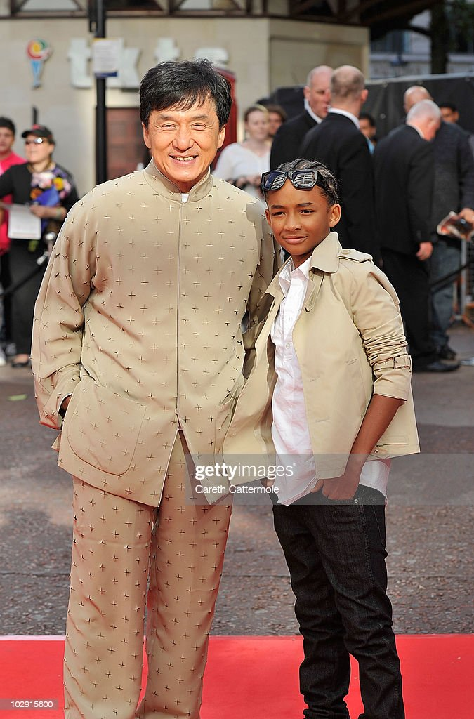Jackie Chan (L) and Jaden Smith attend the UK Film Premiere of The Karate Kid at Odeon Leicester Square on July 15, 2010 in London, England.