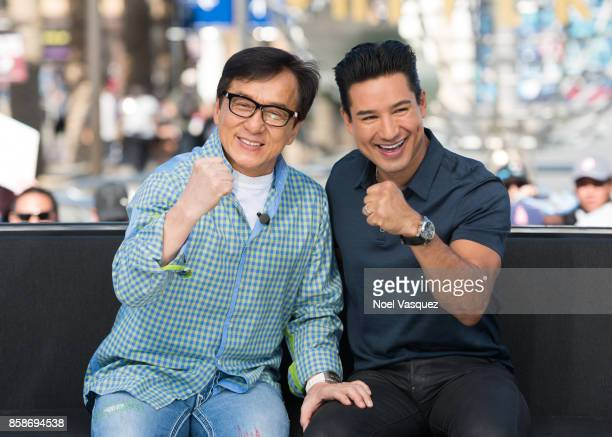 Jackie Chan and Mario Lopez visit 'Extra' at Universal Studios Hollywood on October 5 2017 in Universal City California