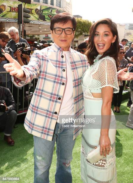 Jackie Chan and Olivia Munn attend the premiere of Warner Bros Pictures' 'The LEGO Ninjago Movie' at Regency Village Theatre on September 16 2017 in...