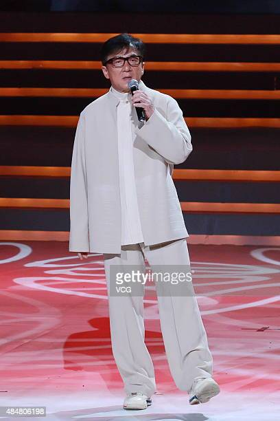 Jackie Chan attends a film launching ceremony for the 70th anniversary of the victory of AntiJapanese War on August 21 2015 in Beijing China