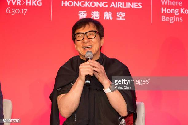 Jackie Chan attends the Media QA Session with Hong Kong Airline's Chief Marketing Office George Liu at the Fairmont Pacific Rim on June 30 2017 in...