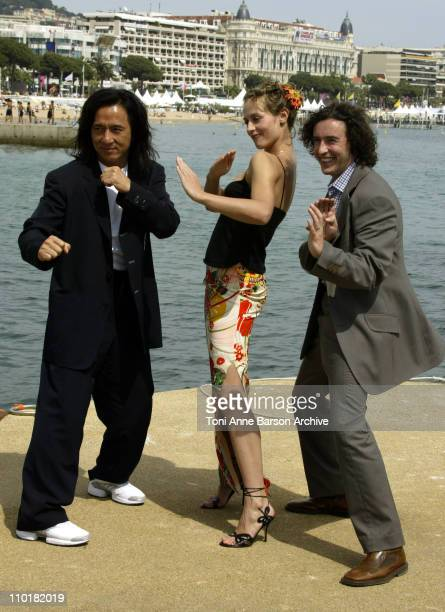 Jackie Chan Cecile de France and Steve Coogan during 2003 Cannes Film Festival 'Around the World in 80 Days' Photo Call at Majestic Pier in Cannes...