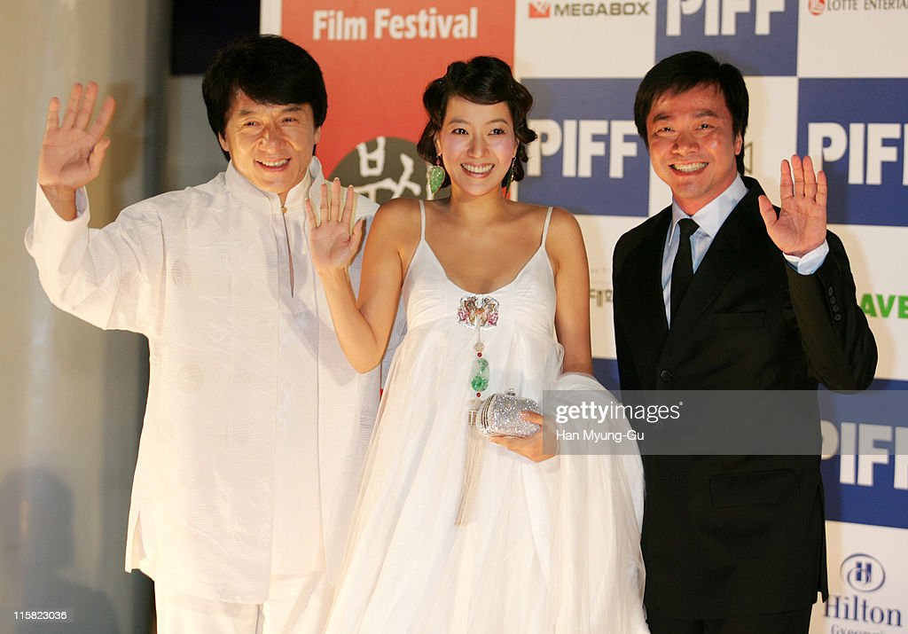 <a gi-track='captionPersonalityLinkClicked' href=/galleries/search?phrase=Jackie+Chan&family=editorial&specificpeople=171455 ng-click='$event.stopPropagation()'>Jackie Chan</a>, Kim Hee-Seon and Stanley Tong during 10th Pusan International Film Festival - Opening Ceremony - Arrivals at Suyoungman Yacht Stadium in Pusan, South, South Korea.