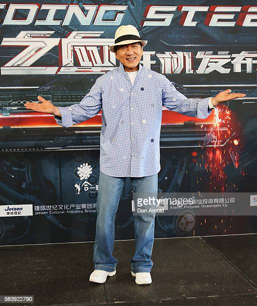 Jackie Chan poses during a press conference and photocall for Bleeding Steel at Sydney Opera House on July 28 2016 in Sydney Australia