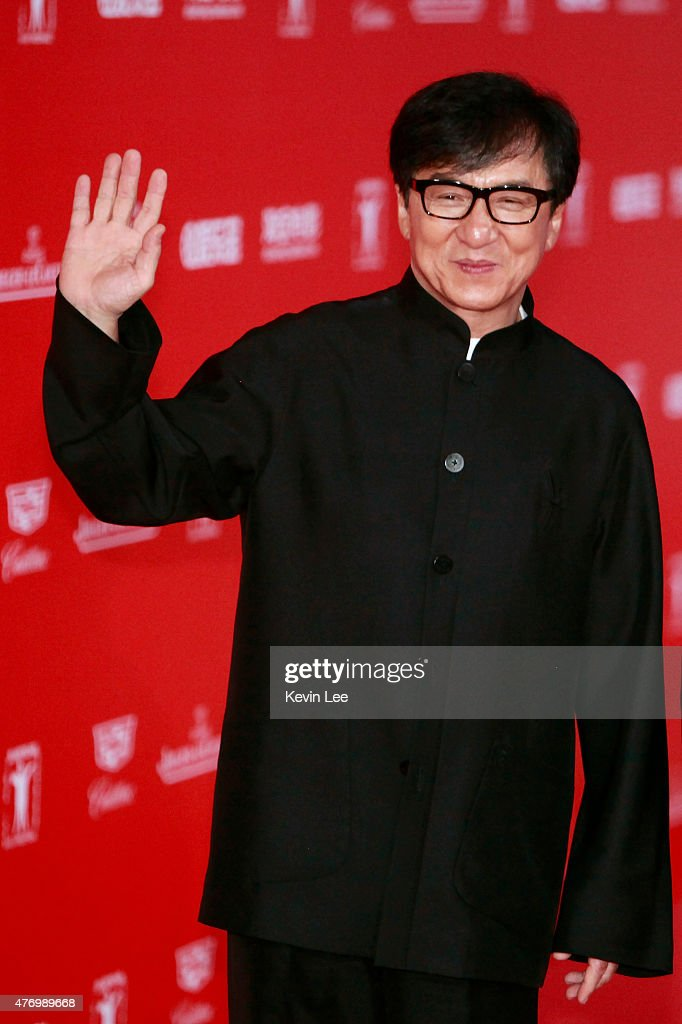 <a gi-track='captionPersonalityLinkClicked' href=/galleries/search?phrase=Jackie+Chan&family=editorial&specificpeople=171455 ng-click='$event.stopPropagation()'>Jackie Chan</a> poses for a picture on the red carpet at The 18th Shanghai International Film Festival on June 13, 2015 in Shanghai, China.