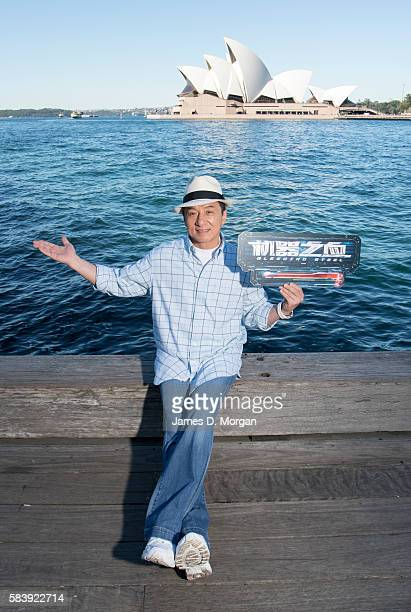 Jackie Chan poses for portraits while promoting his new film Bleeding Steel at Sydney Opera House on July 28 2016 in Sydney Australia