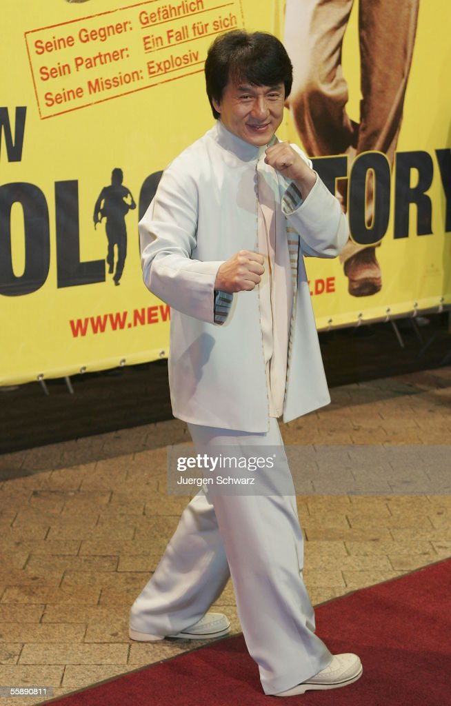 Jackie Chan poses when he arrives for the German premiere of New Police Story October 10, 2005 at the Cinedom in Cologne, Germany.