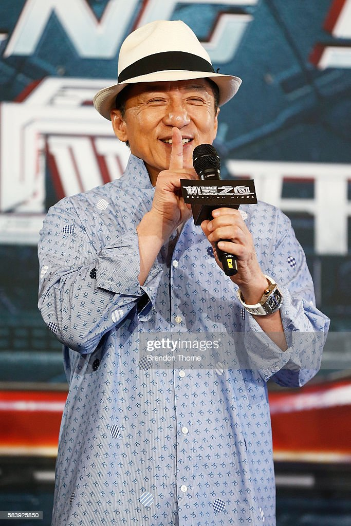 Jackie Chan speaks on stage during a press conference and photocall for Bleeding Steel at Sydney Opera House on July 28, 2016 in Sydney, Australia.