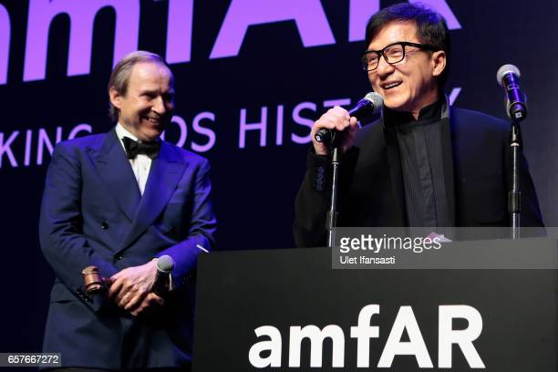 Jackie Chan speaks on stage during the amfAR Hong Kong Gala at Shaw Studios on March 25 2017 in Hong Kong Hong Kong