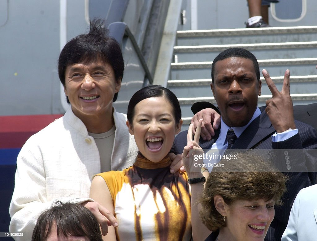 <a gi-track='captionPersonalityLinkClicked' href=/galleries/search?phrase=Jackie+Chan&family=editorial&specificpeople=171455 ng-click='$event.stopPropagation()'>Jackie Chan</a>, Zhang Ziyi & <a gi-track='captionPersonalityLinkClicked' href=/galleries/search?phrase=Chris+Tucker&family=editorial&specificpeople=203254 ng-click='$event.stopPropagation()'>Chris Tucker</a> during The Launch Of The United Airlines 'Rush Hour Express' at Los Angeles International Airport in Los Angeles, California, United States.