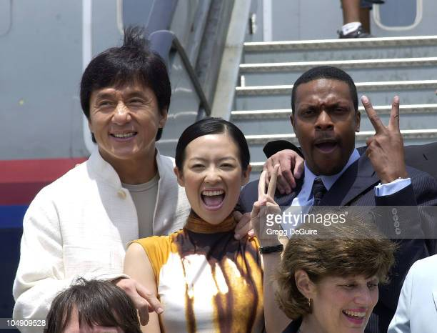 Jackie Chan Zhang Ziyi Chris Tucker during The Launch Of The United Airlines 'Rush Hour Express' at Los Angeles International Airport in Los Angeles...