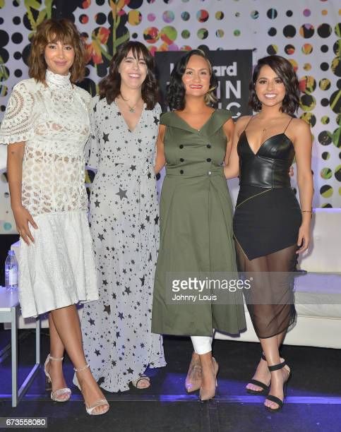 Jackie Cruz Isabel GonzalezWhitaker Carmen Perez and Becky G during The Billboard Latin Music Conference Awards LATINX Activisim panel at Ritz...