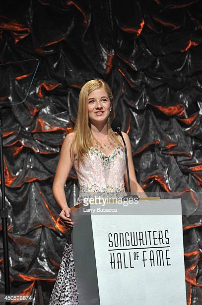 Jackie Evancho speaks onstage at the Songwriters Hall of Fame 45th Annual Induction and Awards at Marriott Marquis Theater on June 12 2014 in New...