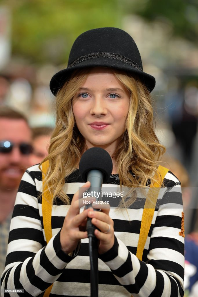 <a gi-track='captionPersonalityLinkClicked' href=/galleries/search?phrase=Jackie+Evancho&family=editorial&specificpeople=7242022 ng-click='$event.stopPropagation()'>Jackie Evancho</a> visits 'Extra' at The Grove on October 11, 2012 in Los Angeles, California.