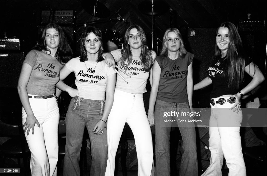 L-R Jackie Fox, Joan Jett, Sandy West, Cherie Currie and Lita Ford of the rock band 'The Runaways' pose for a portrait at Boomer's in Santa Monica, California in January 28th 1976.