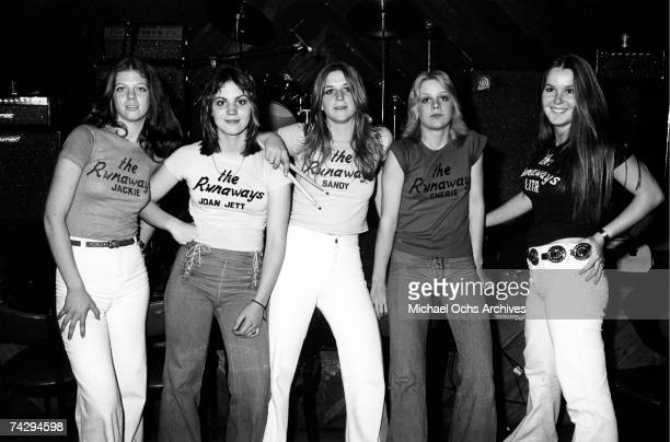 Jackie Fox Joan Jett Sandy West Cherie Currie and Lita Ford of the rock band 'The Runaways' pose for a portrait at Boomer's in Santa Monica...