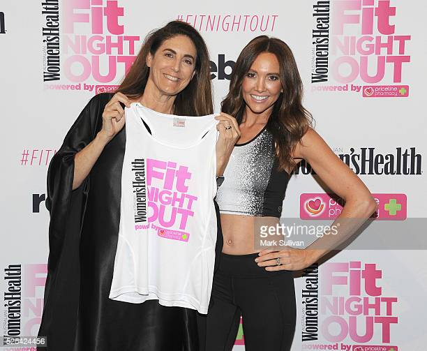 Jackie Frank and Kyly Clarke attend the launch of Women's Health Fit Night Out at Sydney Town Hall on April 28 2016 in Sydney Australia