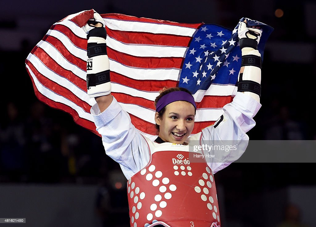Jackie Galloway of the United States of America celebrates victory over Maria Espinoza of Mexico for a gold medal in the women's 67kg plus taekwando...