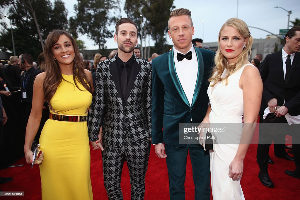 Jackie Ganger, Ryan Lewis, Ben '<a gi-track='captionPersonalityLinkClicked' href=/galleries/search?phrase=Macklemore&family=editorial&specificpeople=7639427 ng-click='$event.stopPropagation()'>Macklemore</a>' Haggerty, and Tricia Davis attends the 56th GRAMMY Awards at Staples Center on January 26, 2014 in Los Angeles, California.