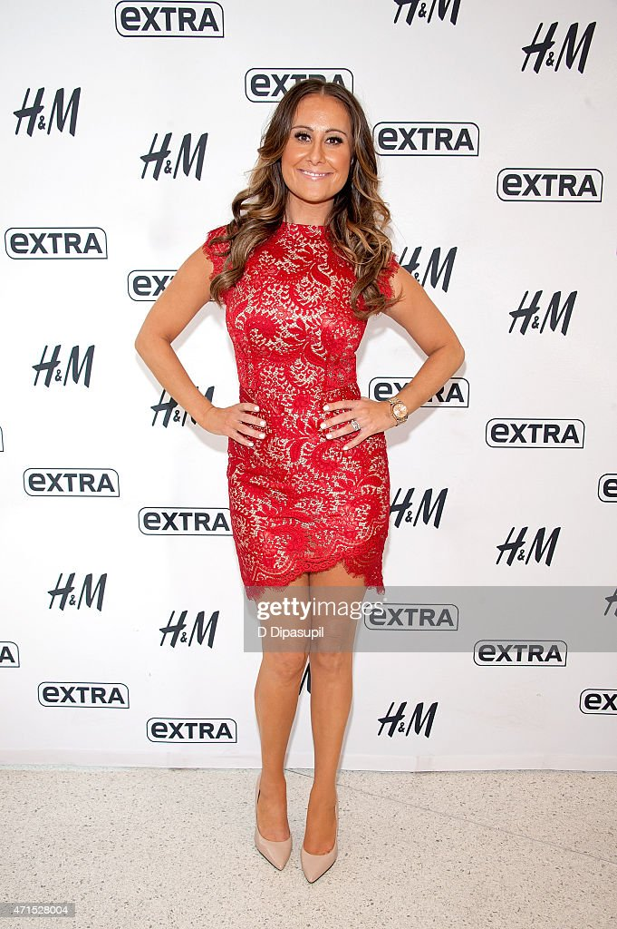 Jackie Gillies of The Real Housewives of Melbourne visits 'Extra' at their New York studios at HM in Times Square on April 29 2015 in New York City