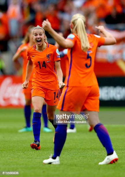 Jackie Groenen and Kika van Es of the Netherlands celebrate at the final whistle after victory in their Group A match between Netherlands and Norway...