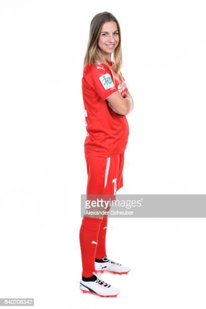 Jackie Groenen of 1 FFC Frankfurt poses during the Allianz Frauen Bundesliga Club Tour at Stadion am Brentanobad on August 25 2017 in Frankfurt am...