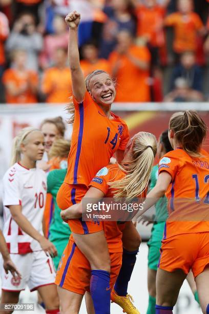Jackie Groenen of Holland Women Kika van Es of Holland Women during the UEFA WEURO 2017 final match between The Netherlands and Denmark at the...