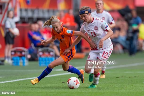 Jackie Groenen of Netherlands in action against Sofie Pedersen of Denmark during the Final match of the UEFA Women's Euro 2017 between Netherlands...