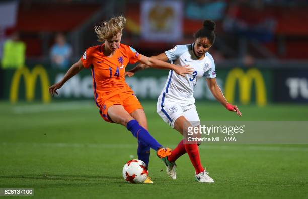 Jackie Groenen of Netherlands Women and Demi Stokes of England Women during the UEFA Women's Euro 2017 semi final match between Netherlands and...