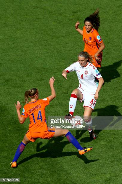 Jackie Groenen of the Netherlands and Danielle van de Donk of the Netherlands challenge Maja Kildemoes of Denmark during the UEFA Women's Euro 2017...