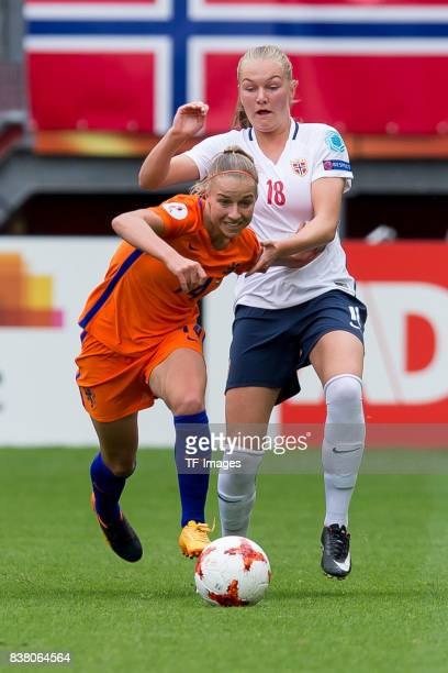 Jackie Groenen of the Netherlands and Frida Maanum of Norway battle for the ball during their Group A match between Netherlands and Norway during the...