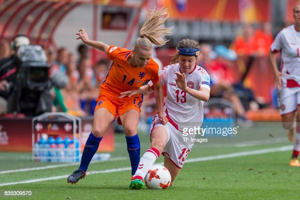 Jackie Groenen of the Netherlands and Sofie Pedersen of Denmark battle for the ball during the UEFA Women's Euro 2017 final match between Denmark and...