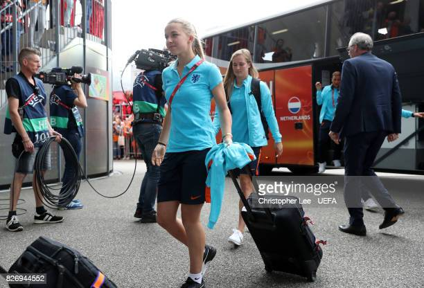 Jackie Groenen of the Netherlands arrives at the stadium prior to the Final of the UEFA Women's Euro 2017 between Netherlands v Denmark at FC Twente...