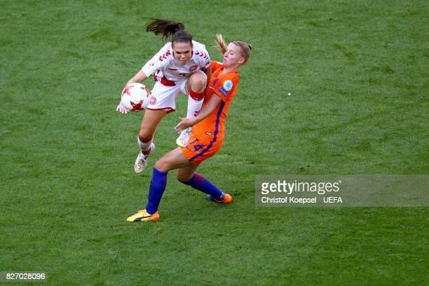 Jackie Groenen of the Netherlands challenges Line Roeddik of Denmark during the Netherlands v Denmark UEFA Women's Euro 2017 Final at De Grolsch...