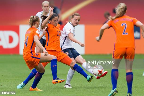 Jackie Groenen of the Netherlands Danielle van de Donk of the Netherlands and Kristine Minde of Norway battle for the ball during their Group A match...