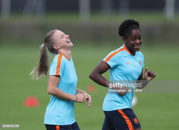 Jackie Groenen of the Netherlands jokes with Liza van der Most of the Netherlands during the Netherlands Training session at SV De Lutte on August 5...