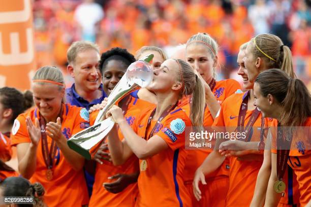 Jackie Groenen of the Netherlands kisses the trophy following the Final of the UEFA Women's Euro 2017 between Netherlands v Denmark at FC Twente...