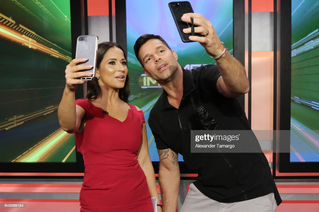 Jackie Guerrido and Ricky Martin are seen on the set of 'Primer Impacto' at Univision's Newsport Studios on February 21, 2017 in Miami, Florida.
